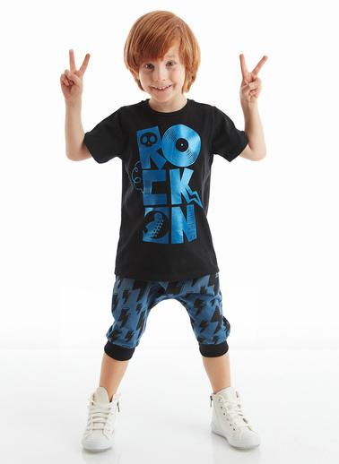 Denokids Rock On Erkek Çocuk Şort Takım Siyah